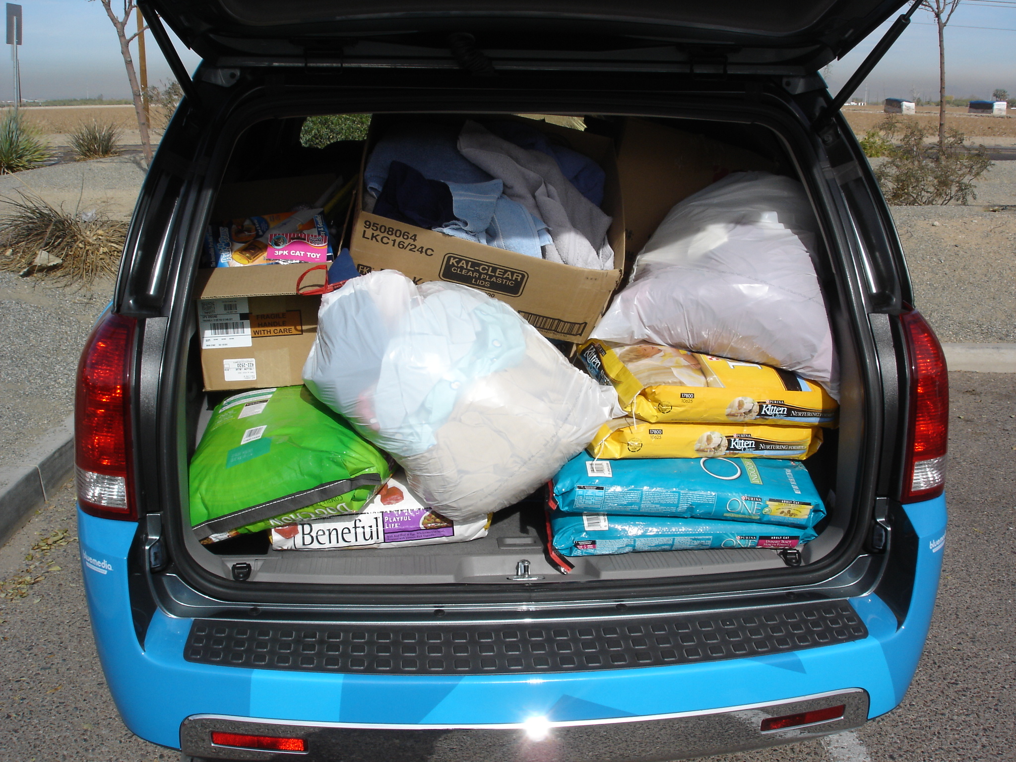 Car fully stuffed with donations!
